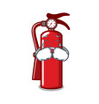 crying fire extinguisher mascot cartoon vector image