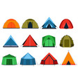 different tourists tents for camping vector image vector image