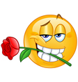 Emoticon with rose between teeth vector image