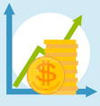 financial growth icons isolated on a light vector image