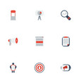 flat icons man with banner social media ads vector image vector image