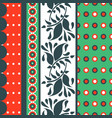 folk floral red and green seamless pattern vector image vector image