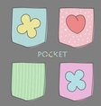 Four coloured pocket with heart and flower vector image vector image