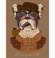 French bulldog with Tobacco Tube and glasses vector image vector image