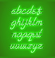 glowing green neon lowercase script font vector image