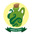 green glass bottle of an unusual shape with a vector image vector image