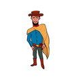 happy cowboy cartoon character vector image