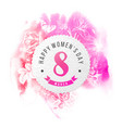 happy womens day 8 march round banner vector image vector image