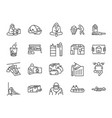 homeless line icon set vector image