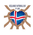icelandic national day with vector image vector image