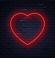 illuminated neon love heart sign frame light vector image vector image