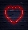 illuminated neon love heart sign frame light vector image
