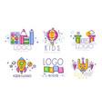 kids original logo design collection children vector image
