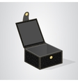Leather black gift box with a lid on the button vector image vector image