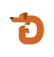 letter d is dog pet font dachshund alphabet vector image vector image