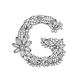 Letter G coloring book for adults vector image vector image