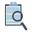 magnifying glass on clipboard vector image vector image