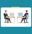male office worker poses sitting at computer vector image vector image