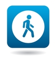 Man on a pedestrian crossing icon simple style vector image