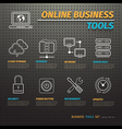 Online Business Tools on Dark Pegboard vector image vector image