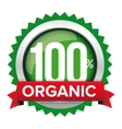 Organic badge with red ribbon vector image vector image