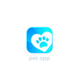 paw and heart pet app logo vector image vector image