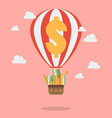 pile money on hot air balloon vector image vector image