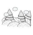 pines forest landscape scene vector image