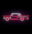 retro car neon sign red and white vintage car vector image
