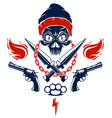 revolution and riot wicked emblem or logo with vector image vector image