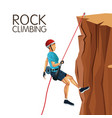 scene man mountain descent with equipment rock vector image vector image