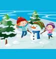 scene with kids and snowman vector image vector image