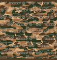 seamless pattern with military machines on camo vector image vector image