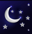silver moon and stars on dark blue background vector image