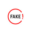 simple red fake sign vector image vector image