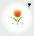 simple tulip bud with leaves design vector image vector image