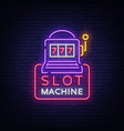 slot machine logo in neon style neon sign bright vector image vector image
