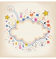 star bursts cartoon cloud shape banner frame lined vector image vector image