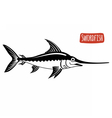 Swordfish black and white vector image vector image