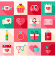 Valentine day flat style icon set with long shadow vector image vector image