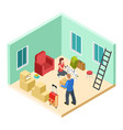 young couple with a dog moves into a new apartment vector image vector image