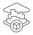 3d printing building thin line icon 3d house vector image vector image