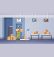 african american courier man in uniform putting vector image vector image