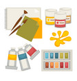 artists supplies set in colors isolated on white vector image vector image