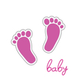 baby feet pink vector image vector image
