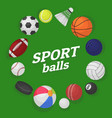 ball games sports equipment collection balls vector image
