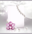banner with orchid and pearls vector image vector image