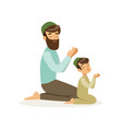 bearded muslim man and his son praying to allah vector image vector image