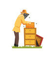 beekeeper in a protective suit working on apiary vector image vector image