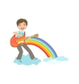 Boy Playing Guitar With Rainbow And Clouds vector image vector image